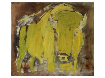 YELLOW BISON. Olie på lærred, 60X70 cm, 2020. Charlotte Bøgh