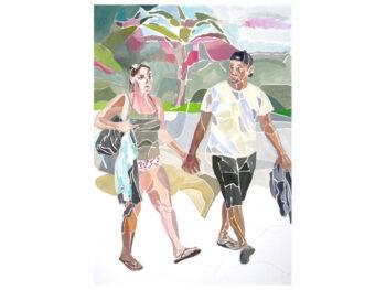 Turistpar. Gouache, 42 x 29,7 cm, 2019. Eva Carstensen