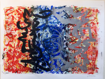 Litografi, fire trykomgange, 80x55 cm. Lars Holbroe
