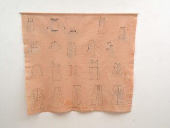 Johanne Helga Heiberg Johansen. Frakker og kjoler og solbriller, stout, tråd 114 x 100 cm