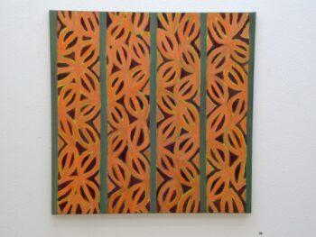 Lis Bruun-Rasmussen. Bladform, olie på lærred 65 x 65 cm