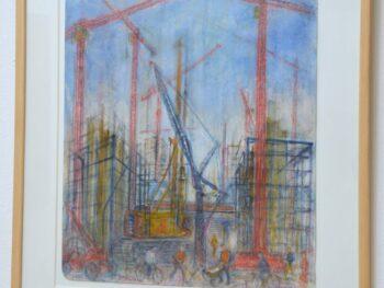 """Tove Hummel. """"Opførelsen af Berlin Hauptbahnhof """", akvarel"""